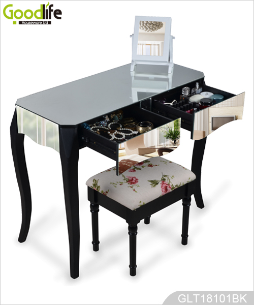 camera da letto vanity console specchio in legno spogliatoio coperto con gambe in legno massello. Black Bedroom Furniture Sets. Home Design Ideas