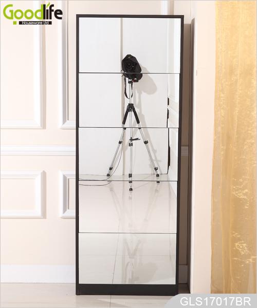 5 capas de madera armario de zapatos con espejo de cuerpo for Espejo cuerpo entero con pie