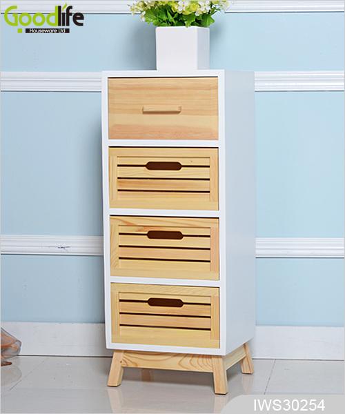 Gabinete de almacenamiento de cuatro cajones de madera en for Gabinete de almacenamiento dormitorio