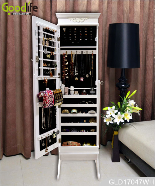 victoria standing wooden jewelry storage cabinet with full length mirror gld17047. Black Bedroom Furniture Sets. Home Design Ideas