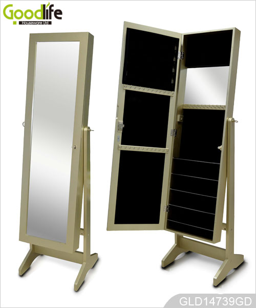 Mdf panel wooden dressing mirror with jewelry cabinet