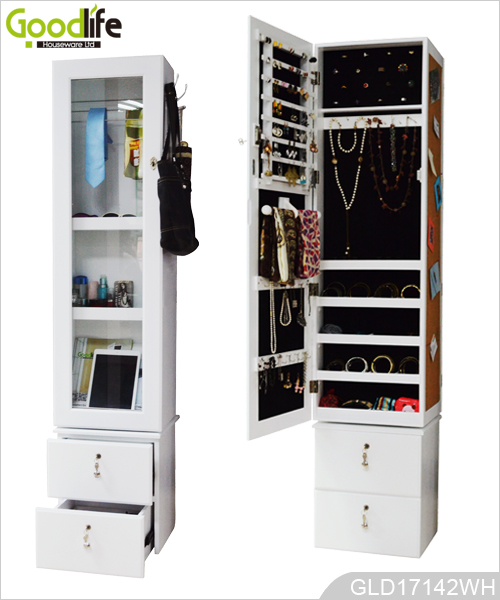 Rotating Mirror Storage Cabinet With Drawer And Photo Wall