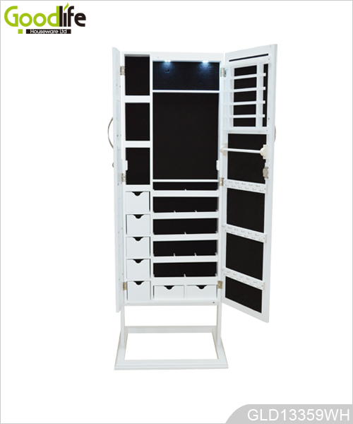 Standing Mirror Jewelry Armoire With Led Light And Photo Frame