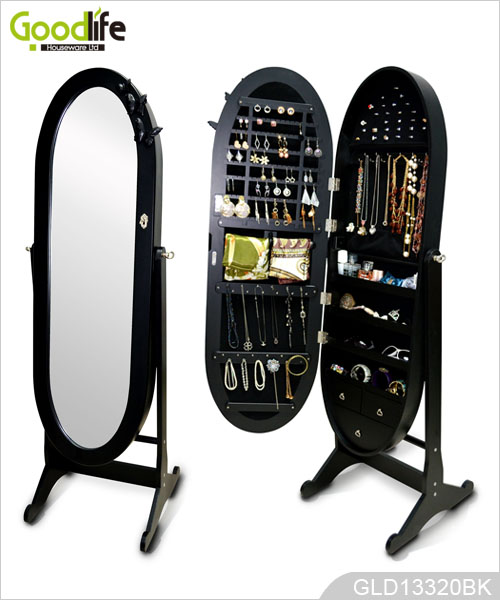 Standing Full Length Mirrored Oval Jewelry Cabinet