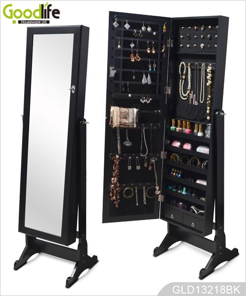 Independiente del gabinete joyero de madera con espejo de for Cadenas de muebles