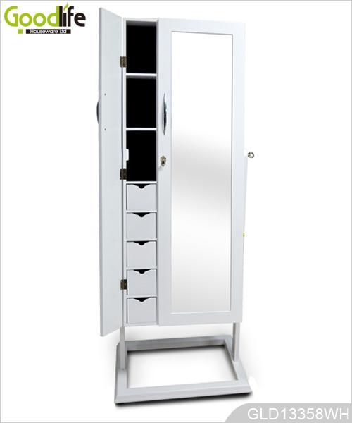 Doppia porta armadietto di immagazzinaggio di legno gioielli a specchio - Armadio specchio gioielli ...