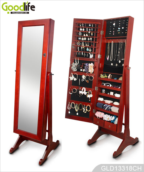De pie armario joyero de madera con espejo de cuerpo entero for Espejo cuerpo entero precio