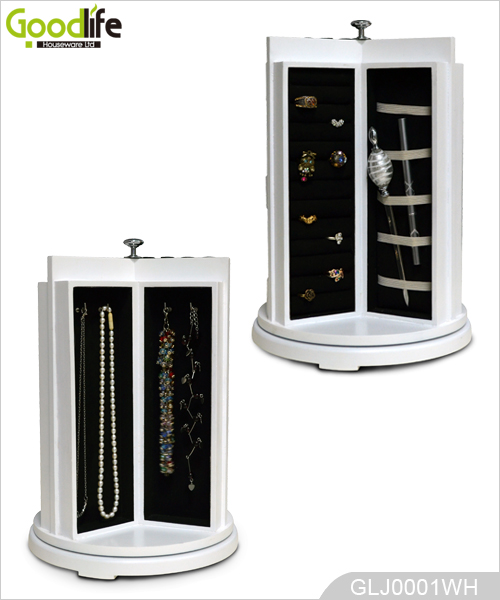 Rotating Round Wooden Jewelry and Makeup Organizer