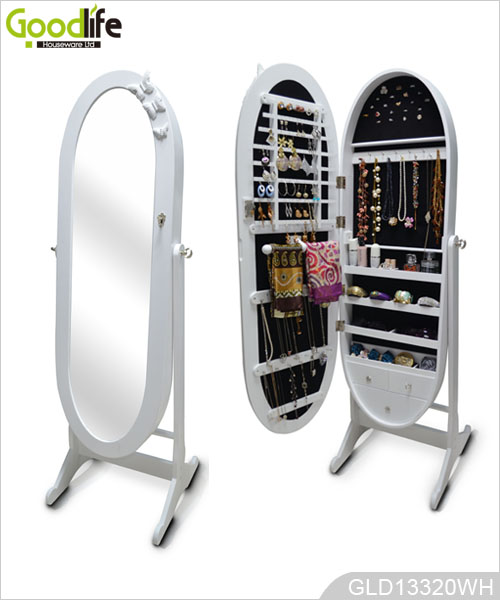 Oval Shape Designs Of Jewelry Armoire With Dressing Mirror