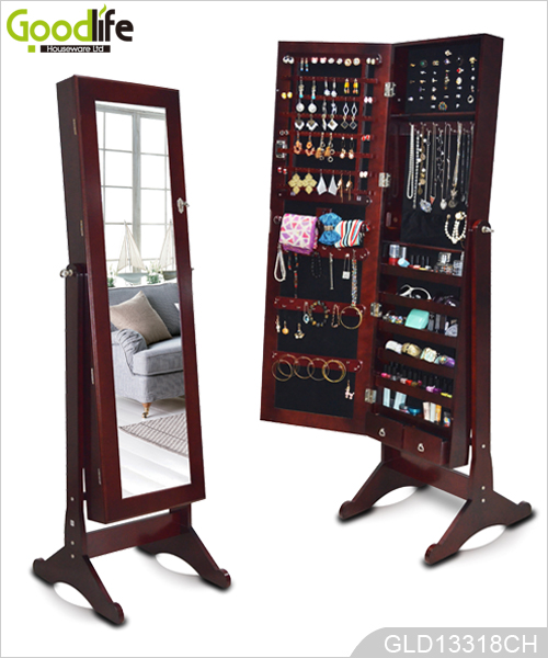 Standing wooden jewelry cabinet with full length mirror for Espejos de cuerpo entero con pie