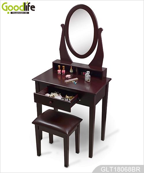 Espejo tocador de madera con asiento para dormitorio glt18068 for Tocador de madera maciza