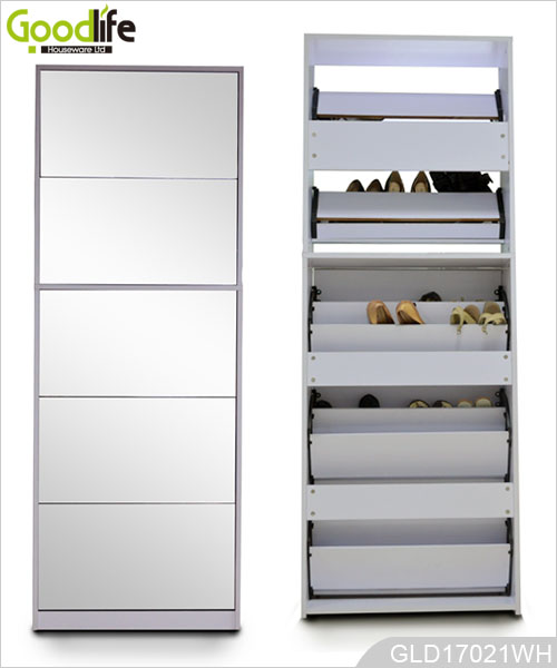 Combined Wooden Shoe Cabinet With Full Length Mirror