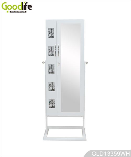 De pie joyería espejo armario con luz LED y marco de fotos