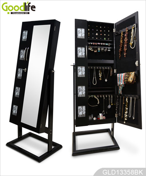 Large Square Double Doors Mirrored Wooden Jewelry Cabinet