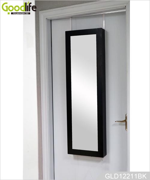 wandhalterung schmuck schrank h ngen ber der t r f r schmuckhalter mit schminkspiegel gld12211. Black Bedroom Furniture Sets. Home Design Ideas