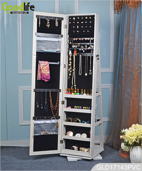 Full length large mirrored wooden jewelry cabinet with for Zapateras giratorias para closet