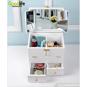 2015 New design wooden mirrored makeup box with handle GLD08049