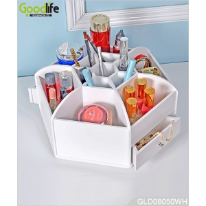 new design 360 degree rotating wooden makeup organizer box GLD08050