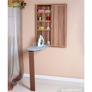 2015 new design wall mounted ironing board cabinet with glass mirror GLI08040