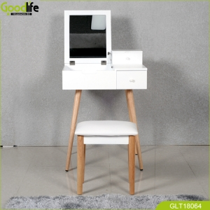2018 new design dressing table with mirror and solid wood furniture legs