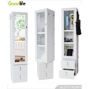 360 degree multi-function wooden furniture storage cabinet with photo wall and drawer