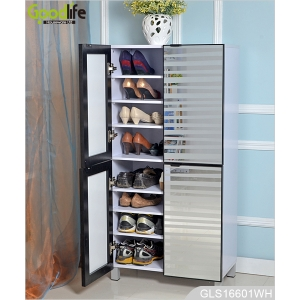 4 doors wooden shoe cabinet with glass mirror for large quantity shoes storage GLS16601