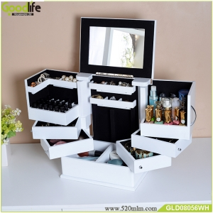 A cabinet can storage the jewelry and Skincare and nail polish
