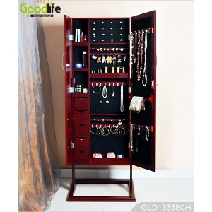 Amazon ebay hot sale furniture large wooden jewelry cabinet with dressing mirror and photo frames GLD13358