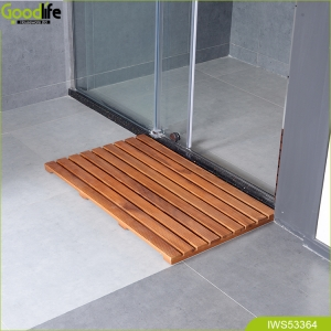 Anti slip waterproof floor teak wood bath mat  IWS53364