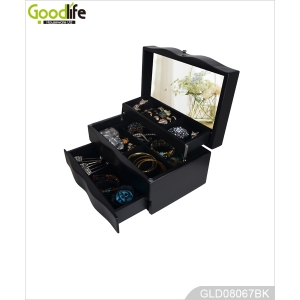 Automatically opened painted wooden jewelry box GLD08067