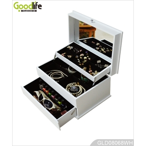 Beautiful mirrored white wooden jewelry box GLD08068
