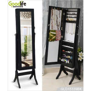 Bedroom mirror with cabinet storage for jewelry