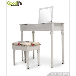 Bedroom painted MDF and solid wood dressing table with stool for women GLT18071