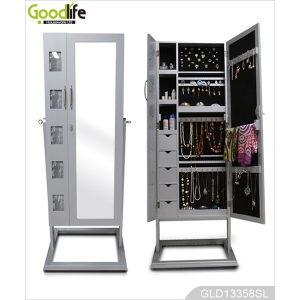 Bedroom standing dressing mirror with large space inside jewelry storage cabinet GLD13358