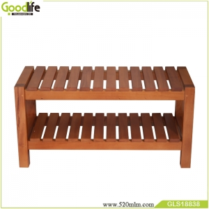 Best seller manufacturers solid mahogany wood storage stool for shower  living room use to support weight