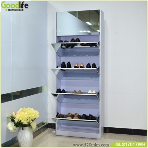 Best seller  solid wood shoe cabinet  with mirror and the inside cabinet with one layer storage shelf