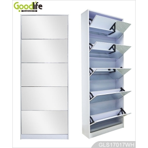 Best seller wooden mirror shoe storage cabinet GLS17017