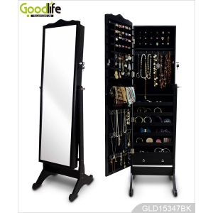 Bestselling wooden mirror jewelry cabinet for jewelry storage and dressing GLD15347