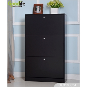 Black Shoe Storage cabinet with 3 layers shoe storage shelves GLS18803