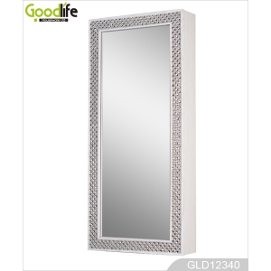Bling frame wall hanging dressing mirror and jewelry storage cabinet combined GLD12340