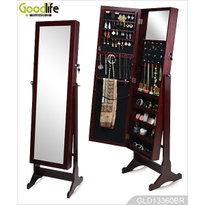 Brown floor standing mirror jewelry cabinet GLD13360