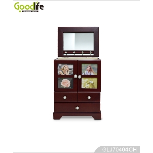 Cheers beauty furniture antique jewelry box with doors and photo frame