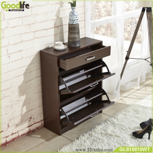 China Supplier Home Furniture Wood Shoe Cabinet Three Layers Shoe Storage Design Modern Wood Storage