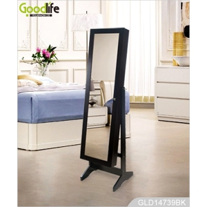 China furniture MDF panel wooden dressing mirror with jewelry cabinet