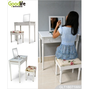 China mirrored furniture manufacturer wooden dressing table with solid wood legs