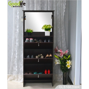 China modern furniture wooden mirror shoe cabinet with hook for bag GLS16620