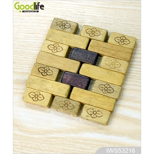 Classic Design joint panel rubber wood coaster , coffee pad,Wood color IWS53216