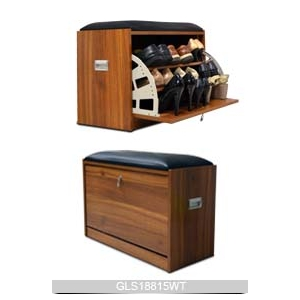 Wooden Color Stool Shoe Cabinet With Seat Cushion