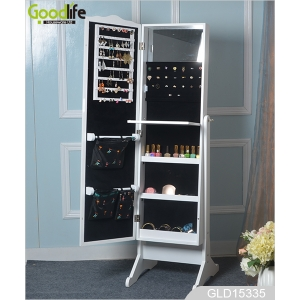Delicate craft storage jewelry cabinet with a length mirror GLD15335