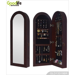 Dome Full Length Mirror Jewelry Cabinet for Hanging on the Wall GLD13319